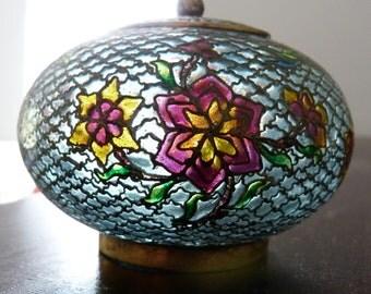 Vintage Plique a Jour Stained Glass Lidded Jar