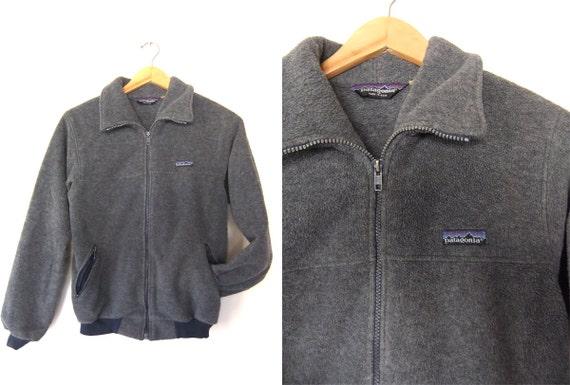 90s Patagonia Fleece Jacket Fuzzy Full Zip Charcoal Grey Hip
