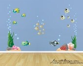 Kids Wall Decals,Tropical Fish and Coral, Ocean Wall Decals