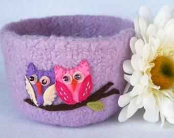 valentine's day centerpiece lavender pink wool felted bowl - love  owls