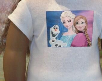 White Frozen Tee Shirt for American Girl Doll