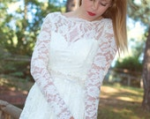 Ivory 50s Wedding Dress Lace Bridal Gown Long Bridal Dress Lond Sleeve Gown - Handmade Wedding Dress by SuzannaM Designs