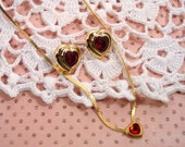 Avon Birthstone Earrings &  Ruby Heart Dazzle Dot Necklace Gold Tone Vintage 1986 and 1987