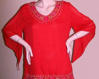 CLEARANCE Red Small Gold India Angel Sleeve Elegant Hippie Bohemian Embroidered semi sheer tunic blouse
