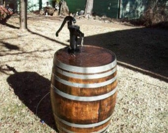 Wine Barrel Birdbath