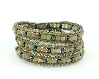Green color mix with hematite wrap bracelet.