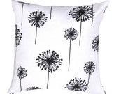 "Black and White PILLOW COVER- Floral Pillow. BLack and White Dandelion Pillow .16"",17"",18"",20"" 24"" 26"", Lumbar Pillow or Euro Sham"