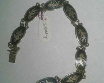 925 Sterling Silver Black with Design Bracelet