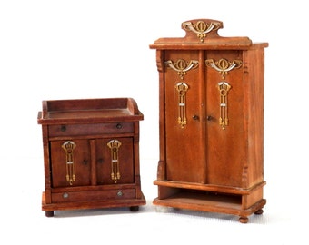 Victorian German Dollhouse Furniture Oak Stained Wardrobe and Wash Stand with Jugendstil Hardware