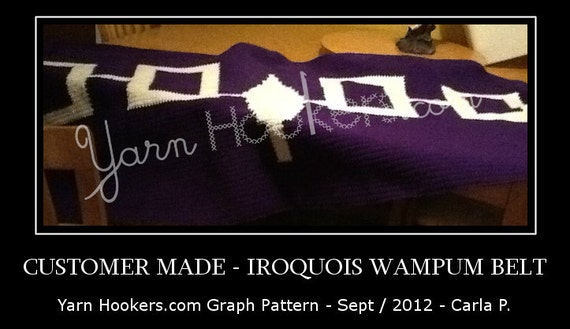 Iroquois Wampum Belt - Indian - Mohawk -  Afghan Crochet Graph Pattern Chart - Instant Download
