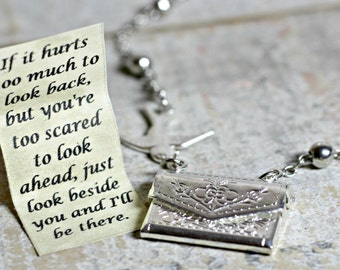 Letter Locket Necklace, I'll Be There Envelope Necklace, Friendship Necklace, Silver Personalized Necklace, Secret Message