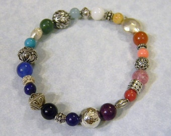 Multicolor Rainbow Gemstone and Bali, Thai Karen & Sterling Silver Stretch Bracelet