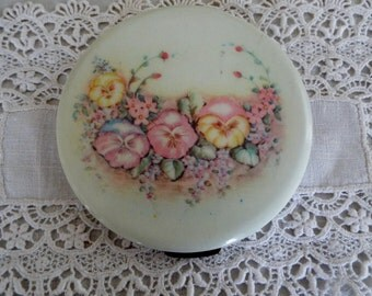 Antique, Vintage Celluloid Powder Compact by Rex 1930s- 40s Floral Design Pink, Yellow, Blue