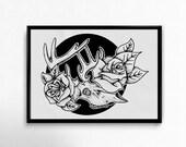 Original Hand Drawn Deer Art Print