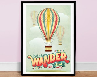 Not All Who Wander Are Lost - Vintage Poster - Retro Art Print