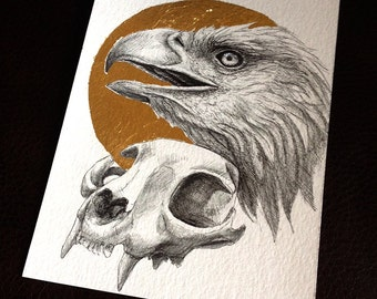 Original - Bald Eagle and Cat Skull With Gold Leaf Ink Drawing Nature Fantasy Surreal Art by Danielle Trudeau