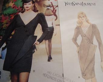 1990's Vogue 1699 Paris Original Yves Saint Laurent Dress Sewing Pattern, Size 6-8-10, Bust 30 1/2, 31 1/2, 32 1/2