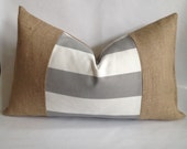 Horizontal Gray and White Striped Fabric and Natural Burlap Lumbar Pillow Cover