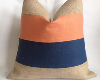 Burnt Orange and Navy Linen/Cotton Fabric and Natural Burlap Pillow Cover