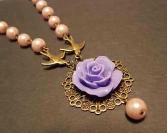 Vintage Inspired Pink and Bronze Beaded Necklace