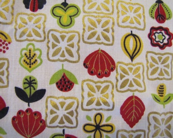 1950's MCM Folk Fabric, 1970s Fabric, Country Fabric, Green, Folk, Country, Heart, Vintage Fabric, Quilters Weight Fabric,