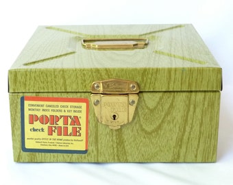 Mid Century Modern Industrial  /  Olive Green Woodgrain Print Metal Box  /  Storage Case
