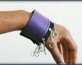Pair of Purple Vegan Leather Cuffs with Chains, Unisex, Bracelets, Cynt D B