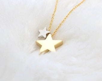Star Necklace. Dainty two star necklace. star charm necklace. chain necklace. christmas gift