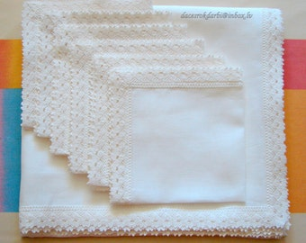 SALE!!! White Linen Tablecloth and Linen Napkins  with Linen Lace