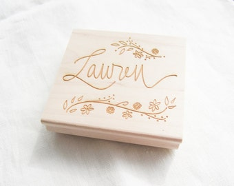 Custom Calligraphy Stamp - custom stamp handlettered with your name, phrase or saying