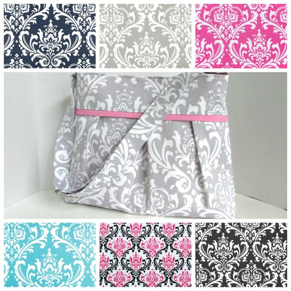 damask diaper bag medium custom design your own boy or girl. Black Bedroom Furniture Sets. Home Design Ideas