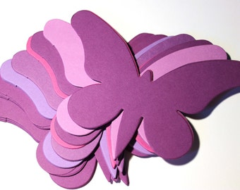 15 Large Purple Die Cut Butterflies