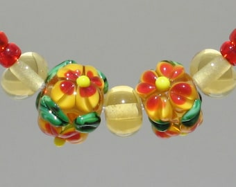 Autumn Flower, Lampwork Glass Beads, Lampwork Flower Sets. Ready to Ship.