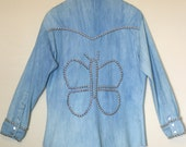 ON SALE Vintage 1970s Rare Denim Studded Jacket / Western Shirt  with Butterfly -  Women's Large, Men's Small