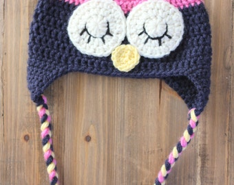 Baby Girl Owl Hat, Crochet Owl Hat, Pink and Navy Owl Hat