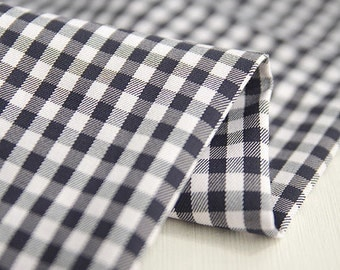 Black and White Cotton Spandex Plaid - Yarn Dyed - By the Yard 42521 - 272