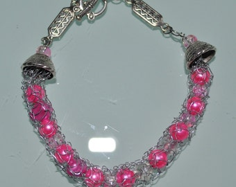 SALE Hand-Knitted Bracelet - CandyPink Coloured Beads Encased in Silver Coloured Wire