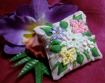 Dollhouse Miniature Pillow - Flowers on Pink
