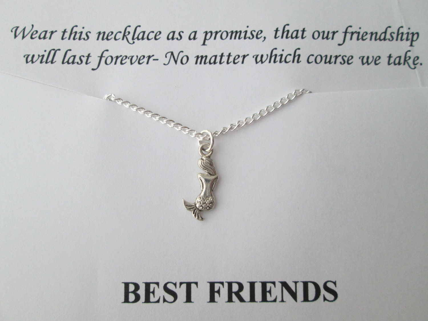 Tiny Mermaid Best Friend Necklace Friendship Quote Card