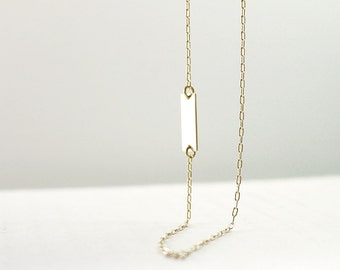 Gold nameplate necklace - personalized sideways or center - 14K gold filled - dainty delicate jewelry