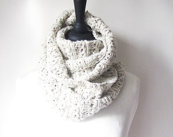 Oatmeal scarf, cream circle scarf, loop scarf, natural tone scarf, eternity scarf, aran knit scarf, warm knit scarf, Winter scarf