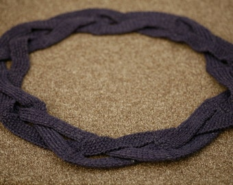 Purple knitted plaited scarf / cowl