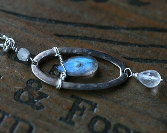 Labradorite Amulet Moonstone Necklace Hand Hammered Sterling Silver Custom Made to Order