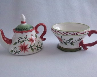 Stacked Cream and Sugar Teapot Set - Coffee Serving - Vintage Home Kitchen Decor