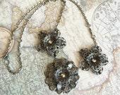 Silver Filigree Flower Necklace