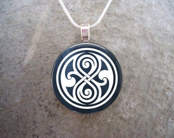 Doctor Who Jewelry - Glass Pendant Necklace - Seal of Rassilon - PRE-ORDER