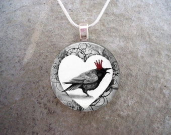 Crow Jewelry - Bird Jewellery - Glass Pendant Necklace - Raven 8