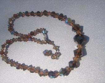 Vintage Brown Crystal Bead Necklace 659.