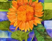 """Sunflower Still Life  Original watercolor, 12"""" x 12"""",  contemporary abstract art,  golden yellow, browns, greens, Home decor, kitchen art"""