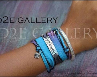 D2E hand dyed silk yoga wrap bracelet  hand stamped Just Breathe, swarovski crystal and heart, magnetic clasp